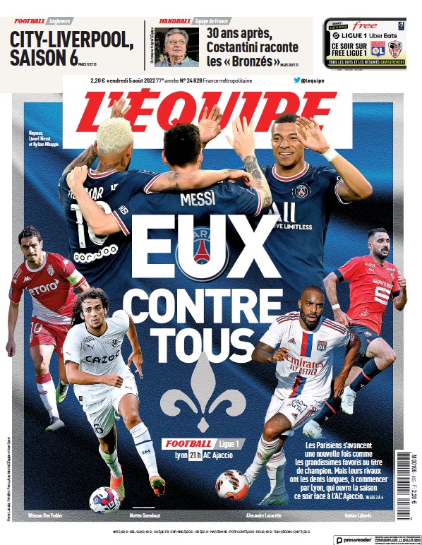 Read full digital edition of L'Equipe newspaper from France