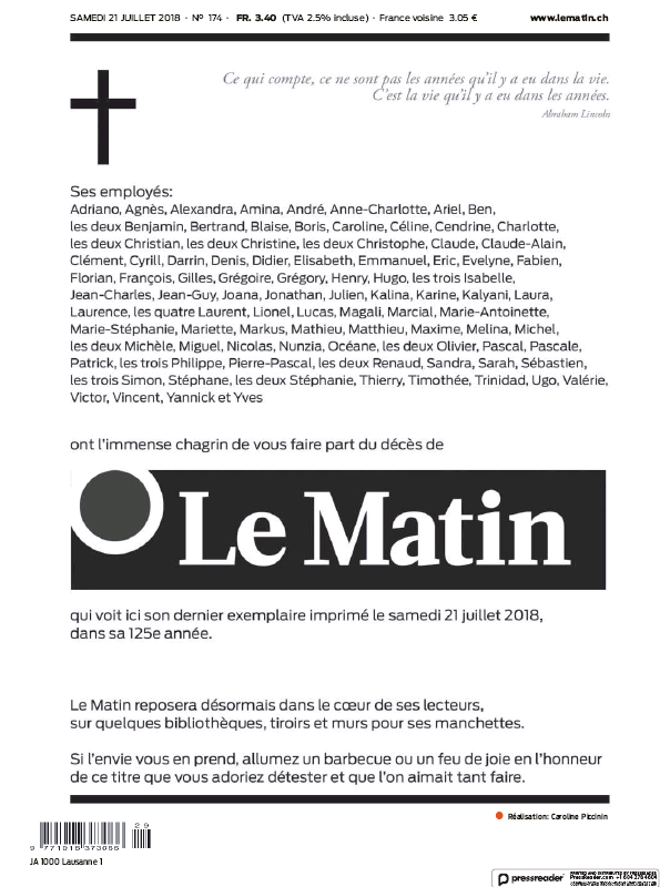 Read full digital edition of Le Matin newspaper from Switzerland