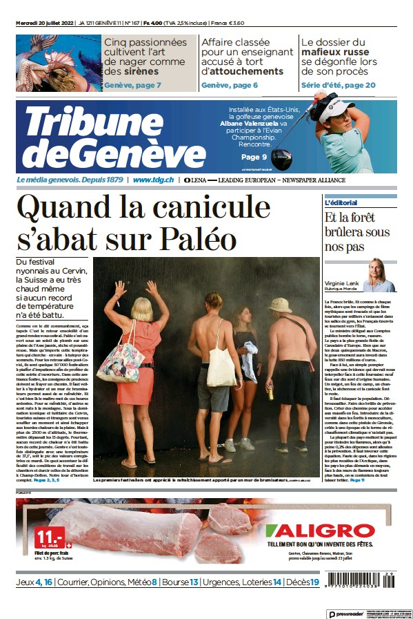 Read full digital edition of Tribune De Geneve newspaper from Switzerland