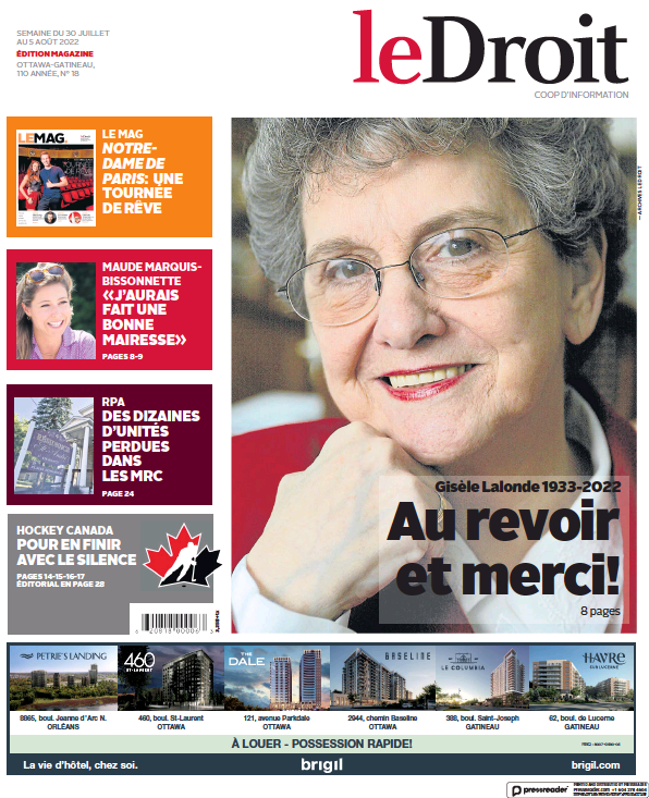 Read full digital edition of Le Droit newspaper from Canada