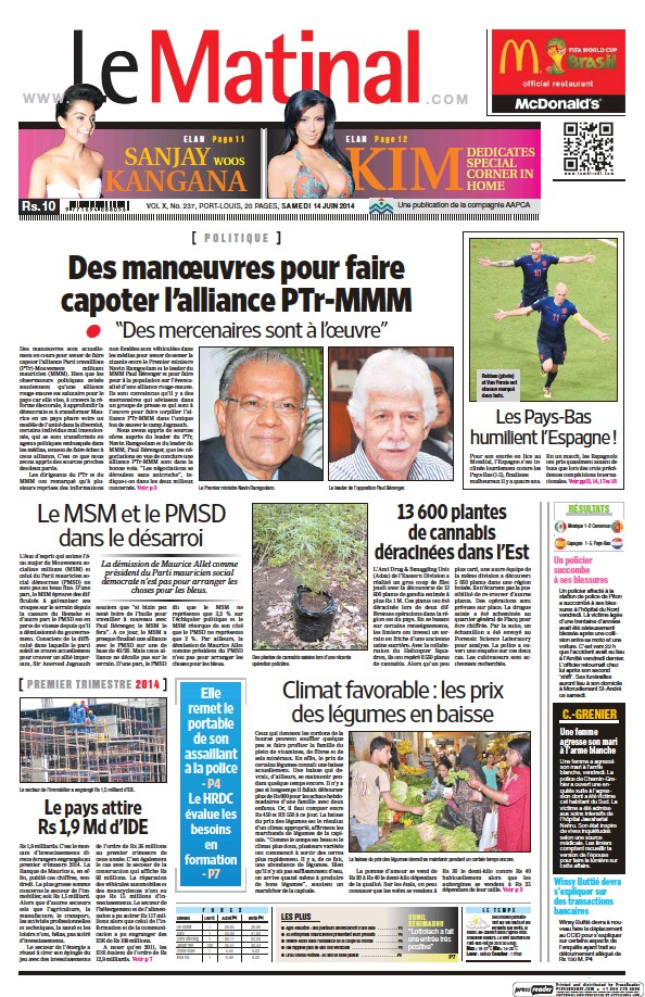 Read full digital edition of Le Matinal newspaper from Mauritius