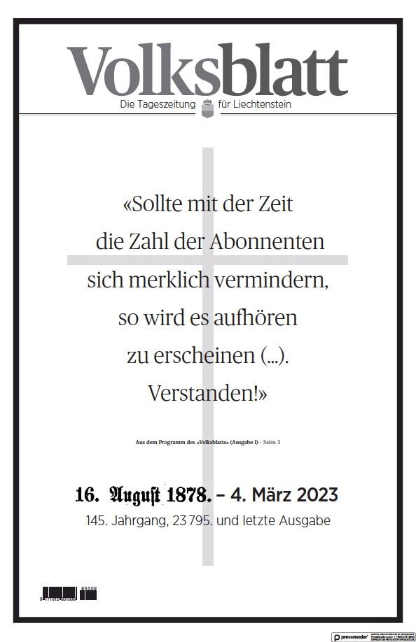 Read full digital edition of Liechtensteiner Volksblatt newspaper from Liechtenstein