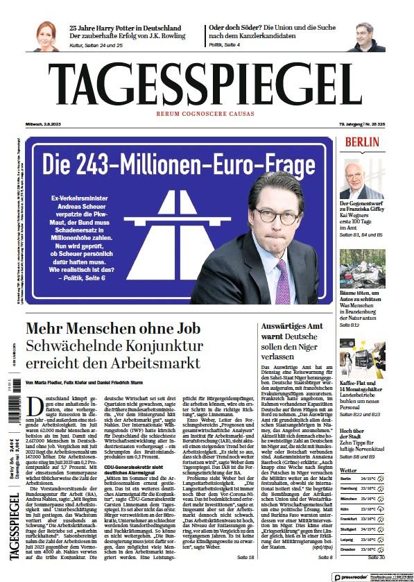 Read full digital edition of Der Tagesspiegel newspaper from Germany