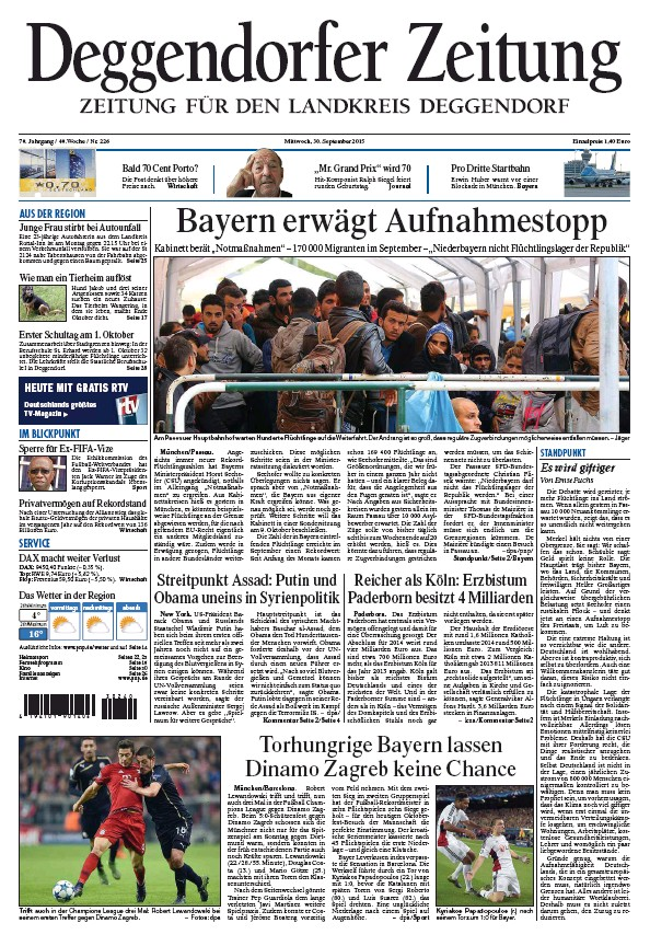 Read full digital edition of Deggendorfer Zeitung newspaper from Germany