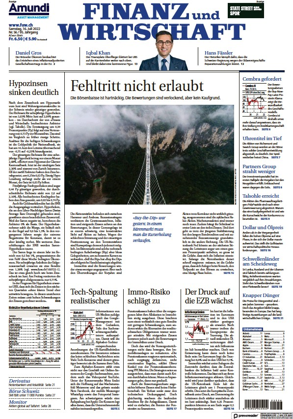 Read full digital edition of Finanz und Wirtschaft newspaper from Switzerland