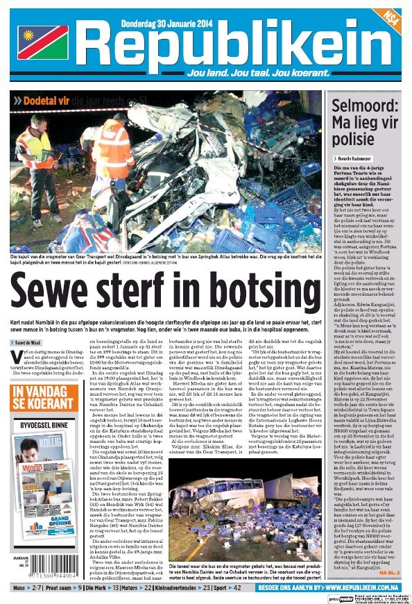 Read full digital edition of Republikein newspaper from Namibia