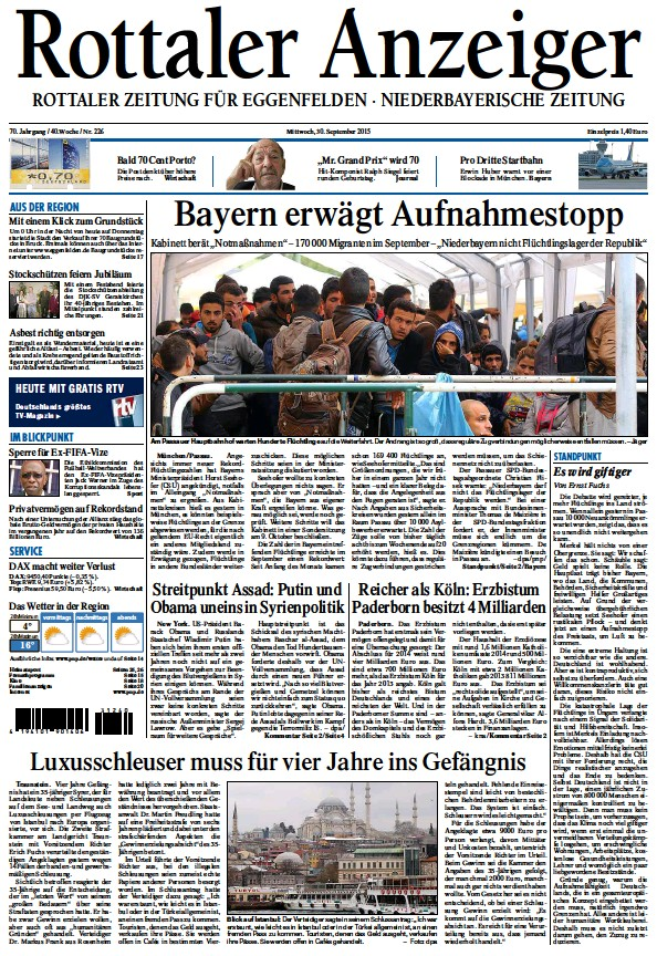 Read full digital edition of Rottaler Anzeiger newspaper from Germany