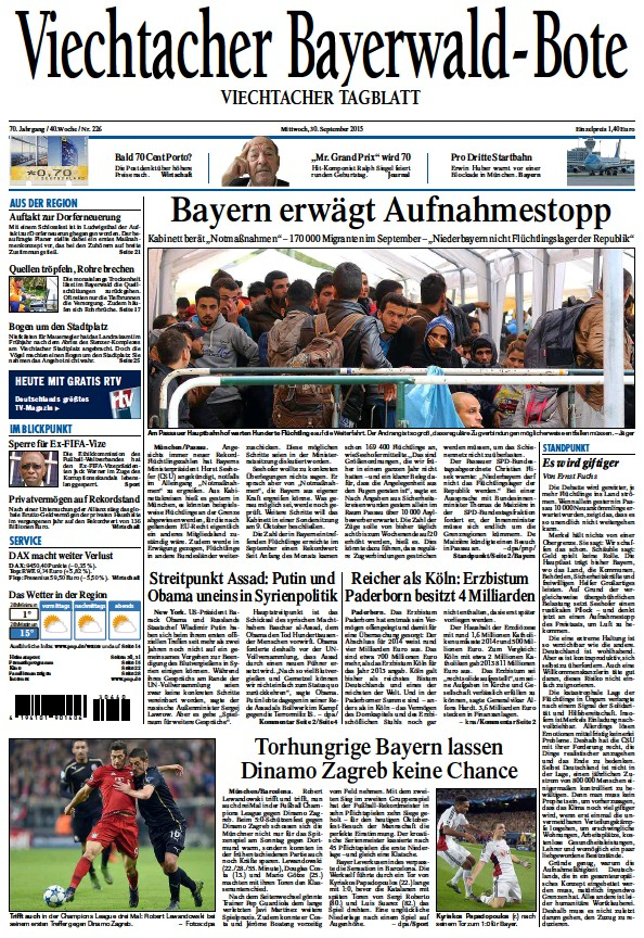 Read full digital edition of Viechtacher Bayerwald Bote newspaper from Germany