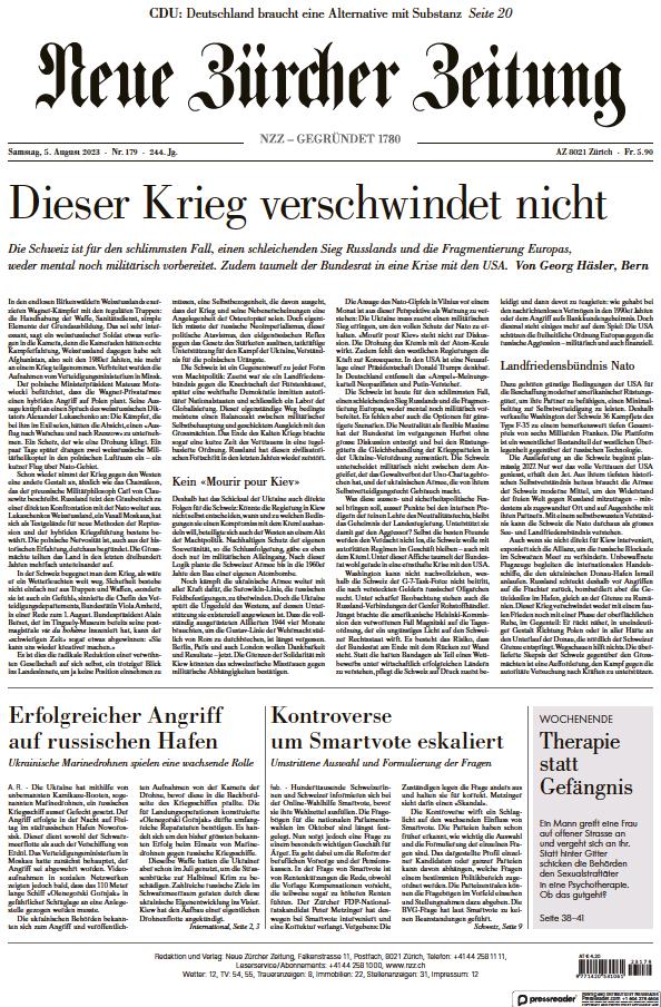 Read full digital edition of Neue Zurcher Zeitung Swiss Edition newspaper from Switzerland