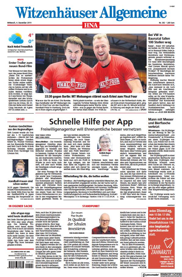 Read full digital edition of HNA Witzenhaeuser Allgemeine newspaper from Germany