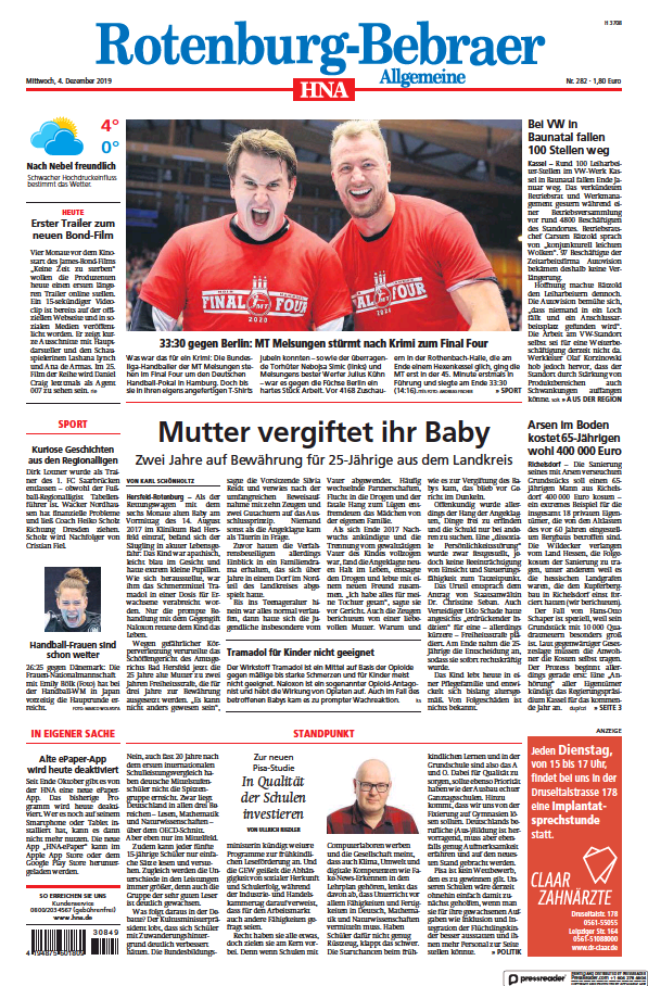 Read full digital edition of HNA Rotenburg-Bebraer Allgemeine newspaper from Germany