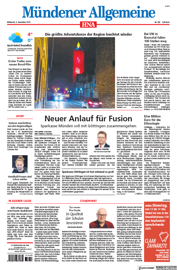 Read full digital edition of HNA Muendener Allgemeine newspaper from Germany