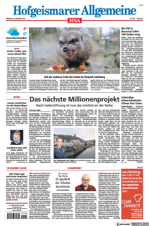 Read full digital edition of HNA Hofgeismarer Allgemeine newspaper from Germany