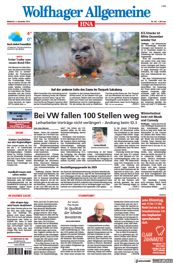 Read full digital edition of HNA Wolfhager Allgemeine newspaper from Germany