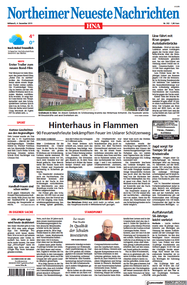 Read full digital edition of HNA Northeimer Neueste Nachrichten newspaper from Germany