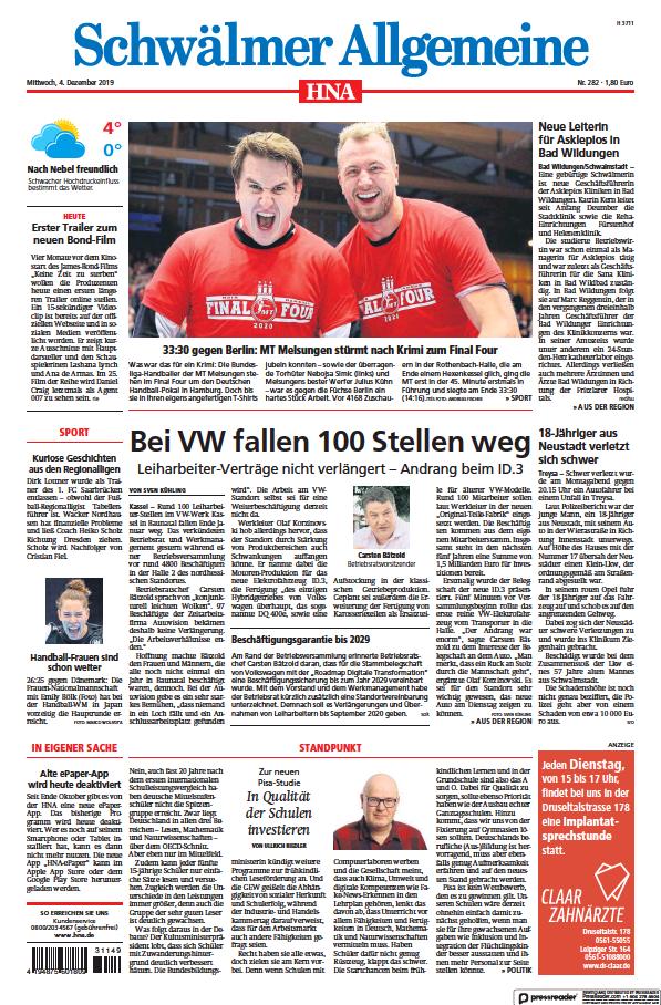 Read full digital edition of HNA Schwaelmer Allgemeine newspaper from Germany