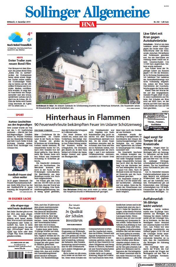 Read full digital edition of HNA Sollinger Allgemeine newspaper from Germany