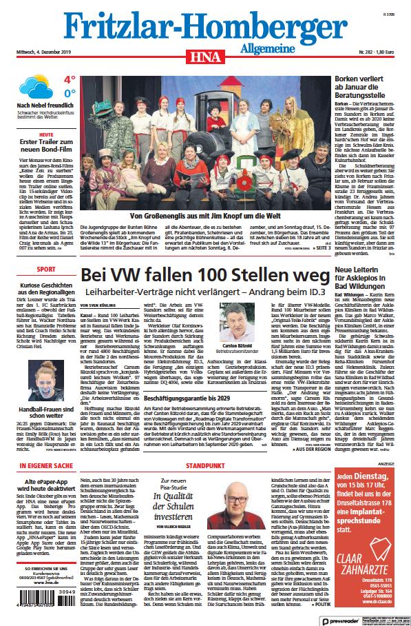 Read full digital edition of HNA Fritzlar-Homberger Allgemeine newspaper from Germany