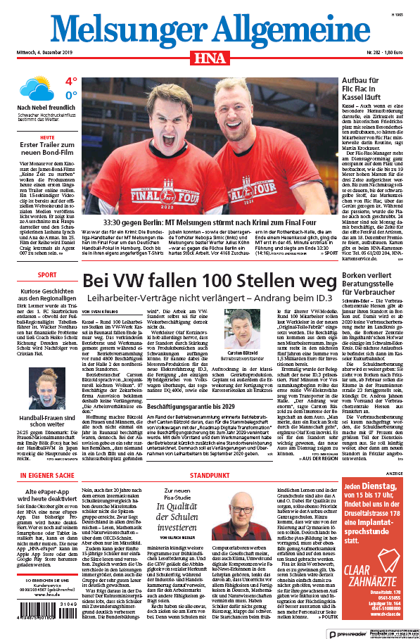 Read full digital edition of HNA Melsunger Allgemeine newspaper from Germany