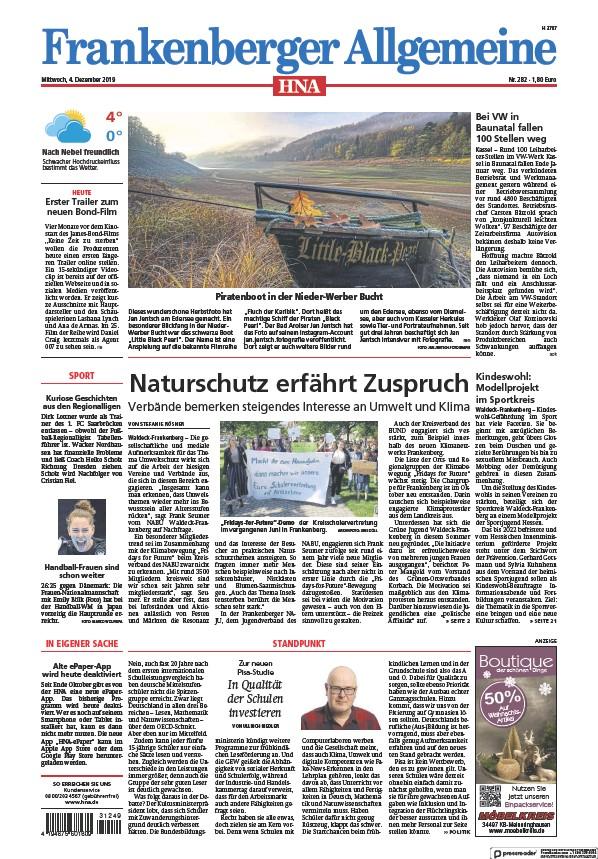 Read full digital edition of HNA Frankenberger Allgemeine newspaper from Germany