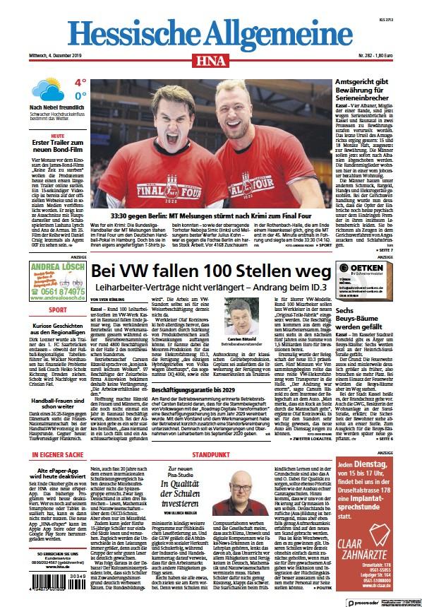 Read full digital edition of HNA Kassel-Sud newspaper from Germany