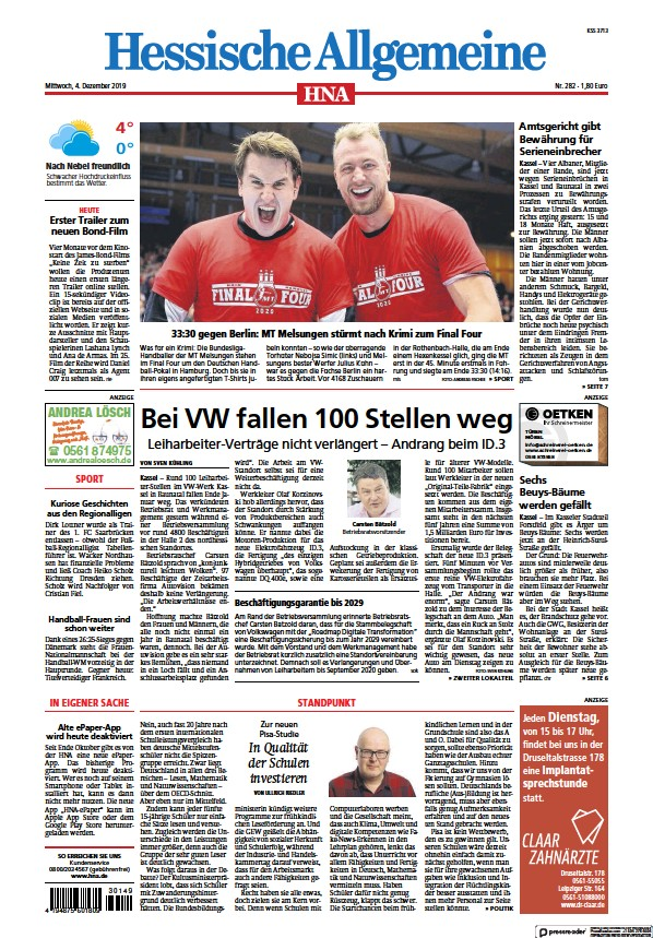 Read full digital edition of HNA Kassel-Mitte newspaper from Germany