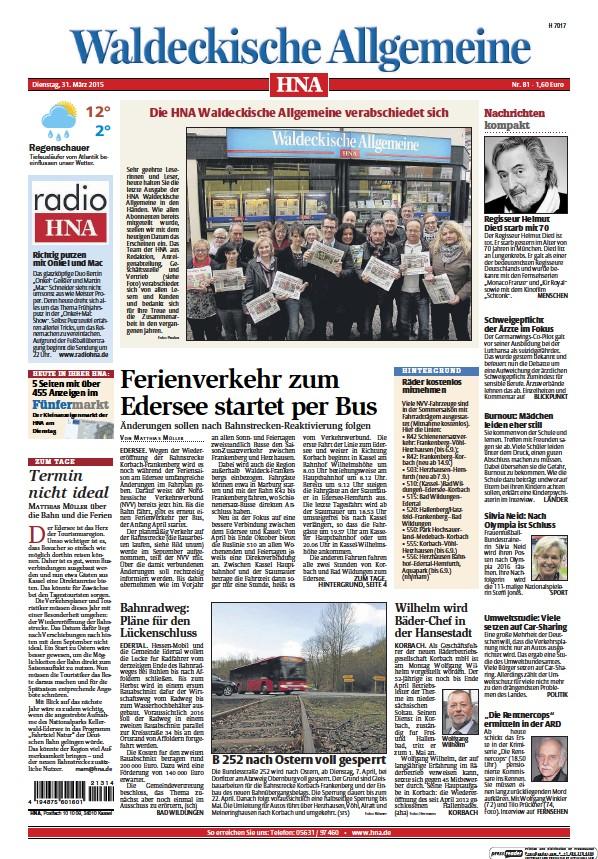 Read full digital edition of HNA Waldeckische Allgemeine newspaper from Germany