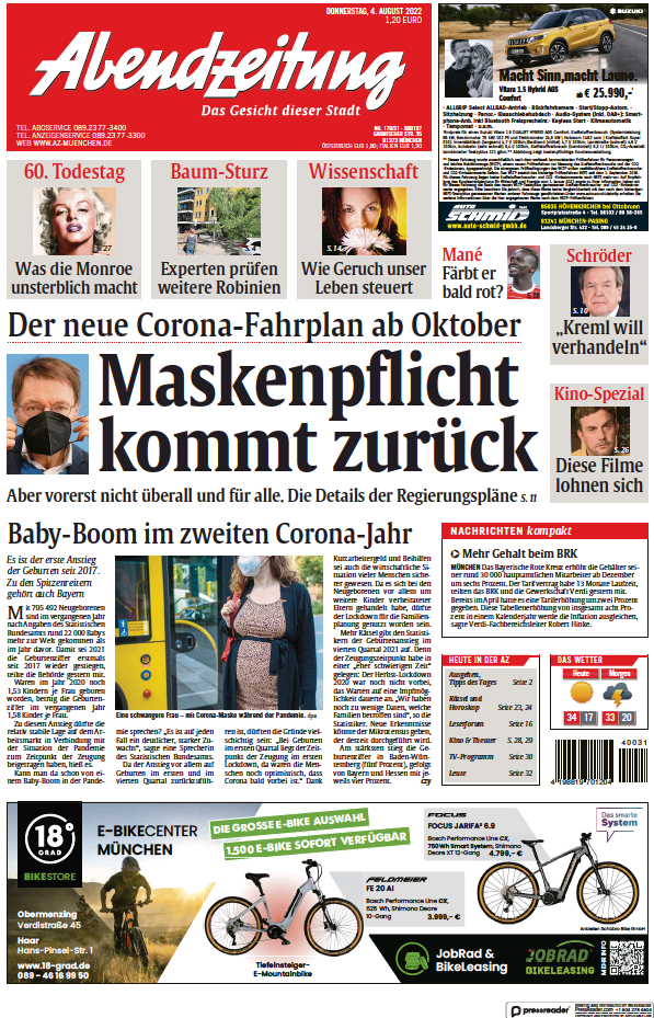 Read full digital edition of Abendzeitung Muenchen newspaper from Germany