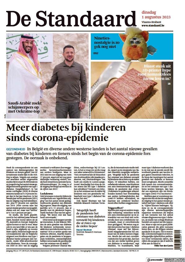 Read full digital edition of De Standaard newspaper from Belgium