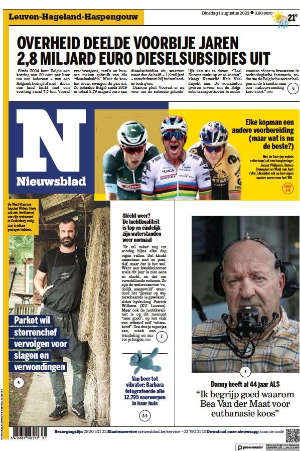 Read full digital edition of Het Nieuwsblad newspaper from Belgium