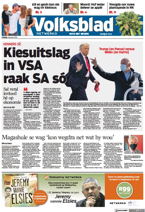 Read full digital edition of Volksblad newspaper from South Africa