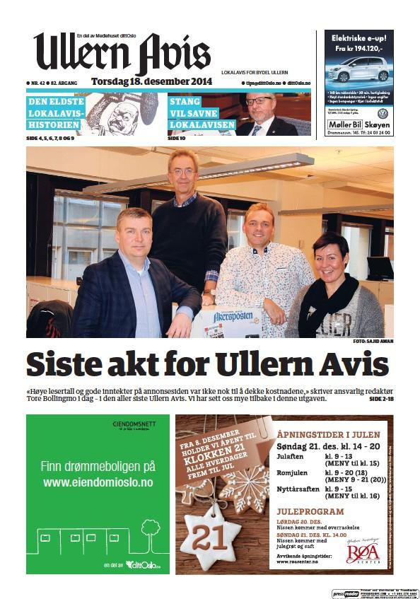 Read full digital edition of Ullen Avis newspaper from Norway