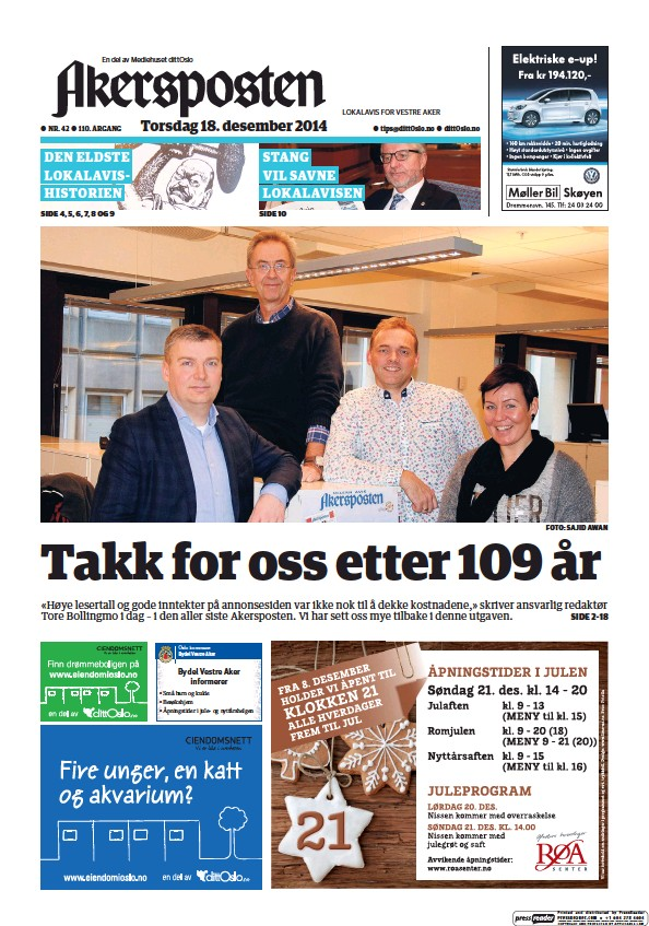 Read full digital edition of Akersposten newspaper from Norway