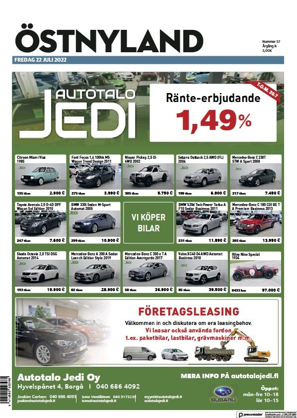 Read full digital edition of Ostra Nyland newspaper from Finland