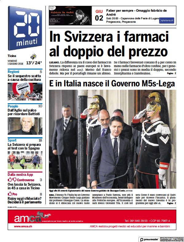Read full digital edition of 20 Minuti newspaper from Switzerland