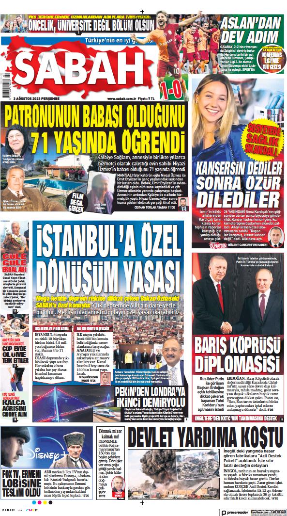 Read full digital edition of Sabah newspaper from Turkey