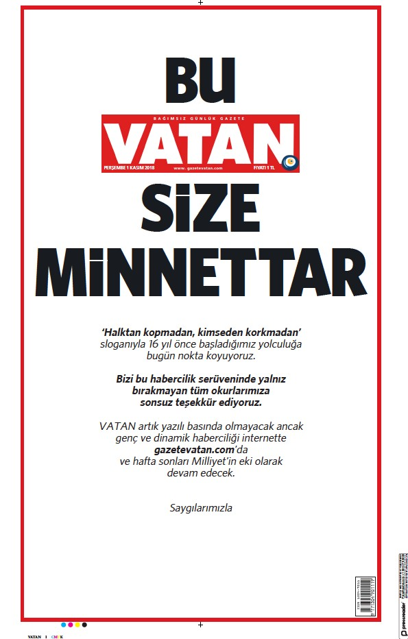 Read full digital edition of Vatan newspaper from Turkey