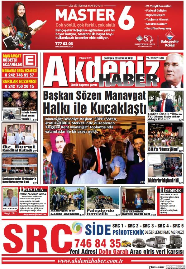 Read full digital edition of Akdeniz Haber newspaper from Turkey
