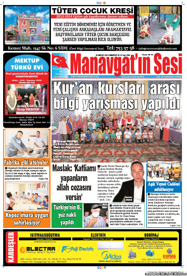 Read full digital edition of Manavgat'in Sesi newspaper from Turkey