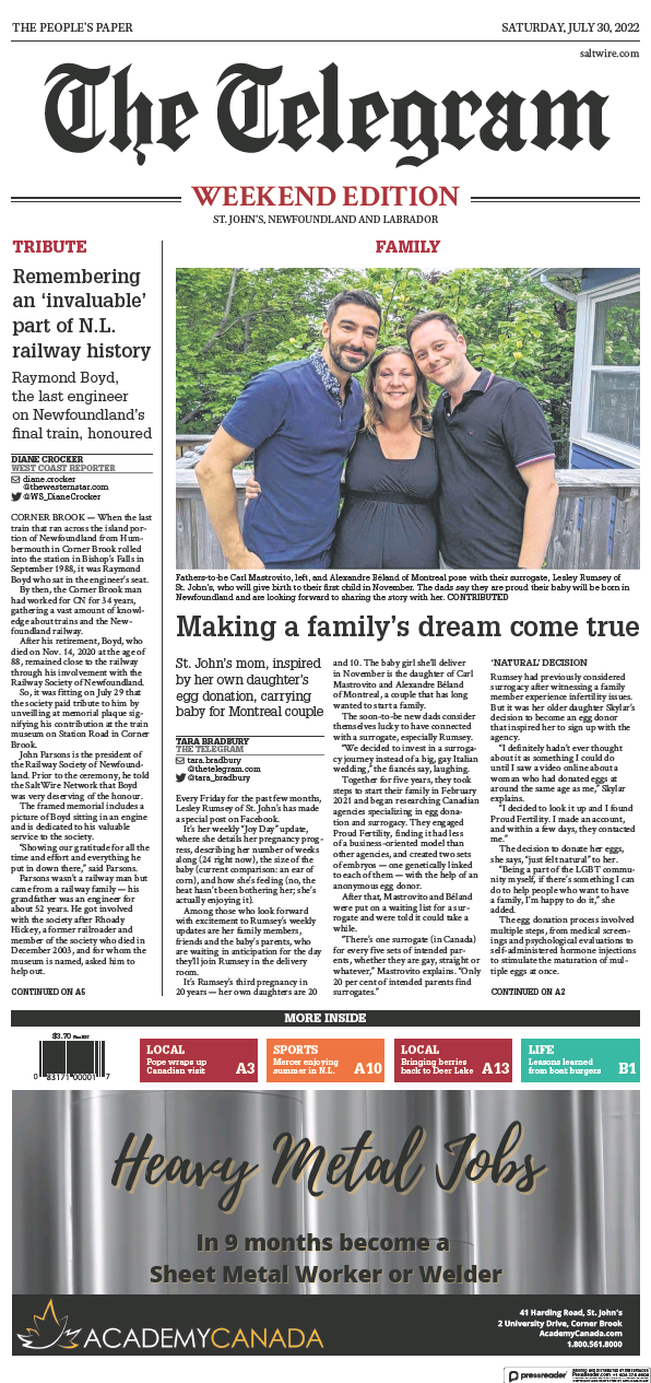 Read full digital edition of The Telegram (St. John's) newspaper from Canada