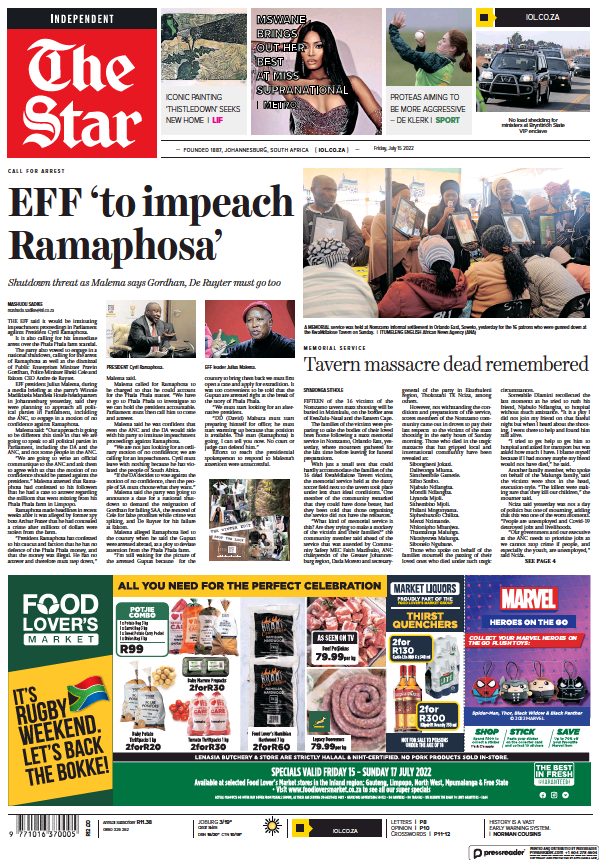 Read full digital edition of The Star Early Edition newspaper from South Africa