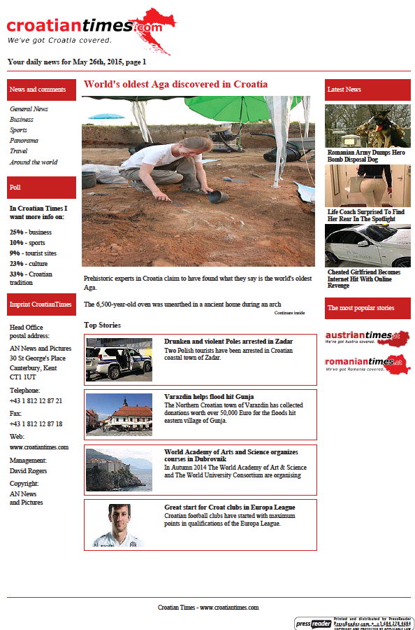 Read full digital edition of Croatian Times newspaper from Croatia