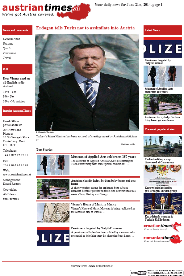 Read full digital edition of Austrian Times newspaper from Austria