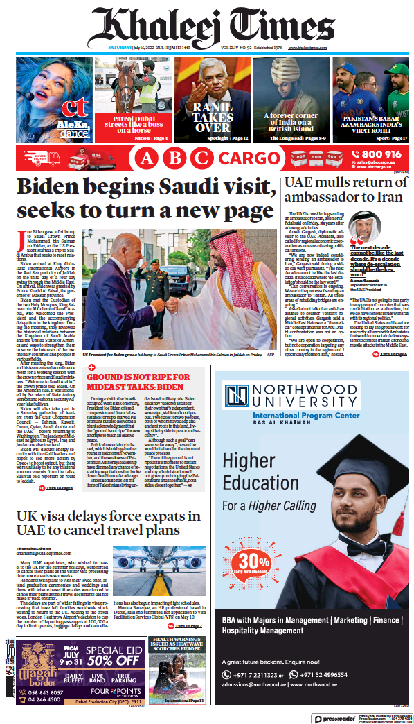 Read full digital edition of Khaleej Times newspaper from United Arab Emirates