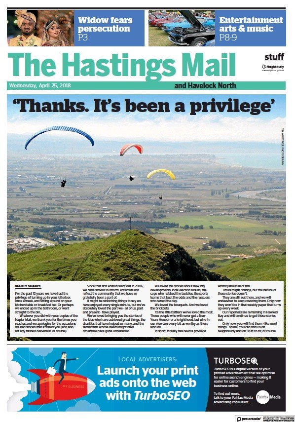 Read full digital edition of The Hastings Mail newspaper from New Zealand
