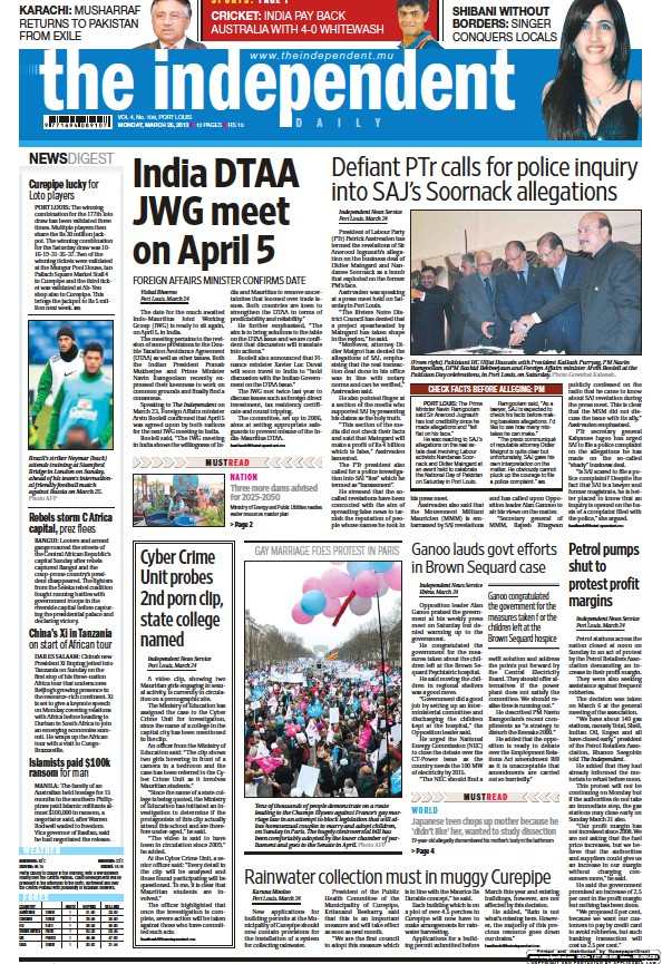 Read full digital edition of The Independent Daily newspaper from Mauritius