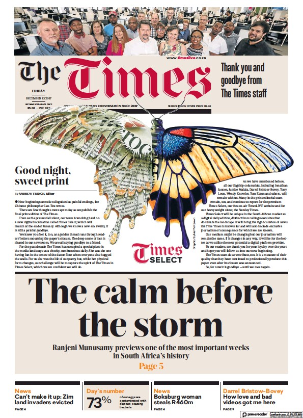 Read full digital edition of The Times (South Africa) newspaper from South Africa