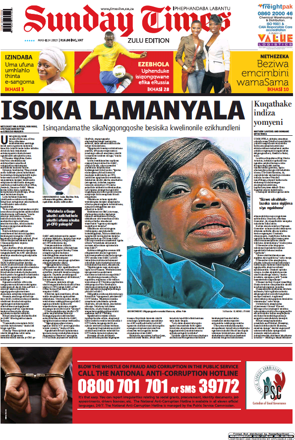 Read full digital edition of Sunday Times of Johannesburg (Zulu) newspaper from South Africa