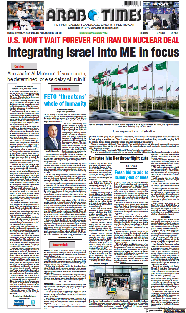 Read full digital edition of Arab Times newspaper from Kuwait